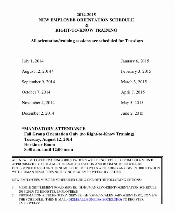 Training New Employees Template Lovely Employee Training Schedule Template 14 Free Word Pdf