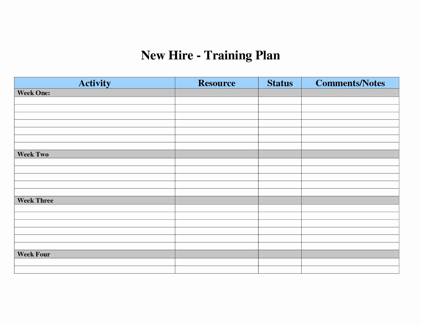 Training New Employees Template Luxury Employee Training Plan Template
