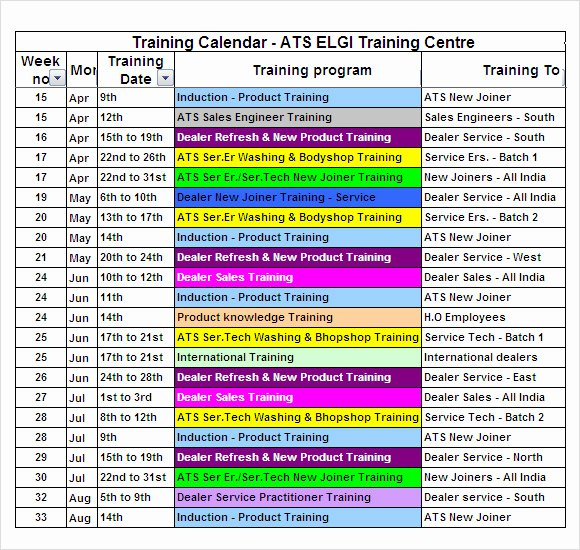 Training Plan Template Excel Luxury 12 Sample Training Calendar Templates to Download