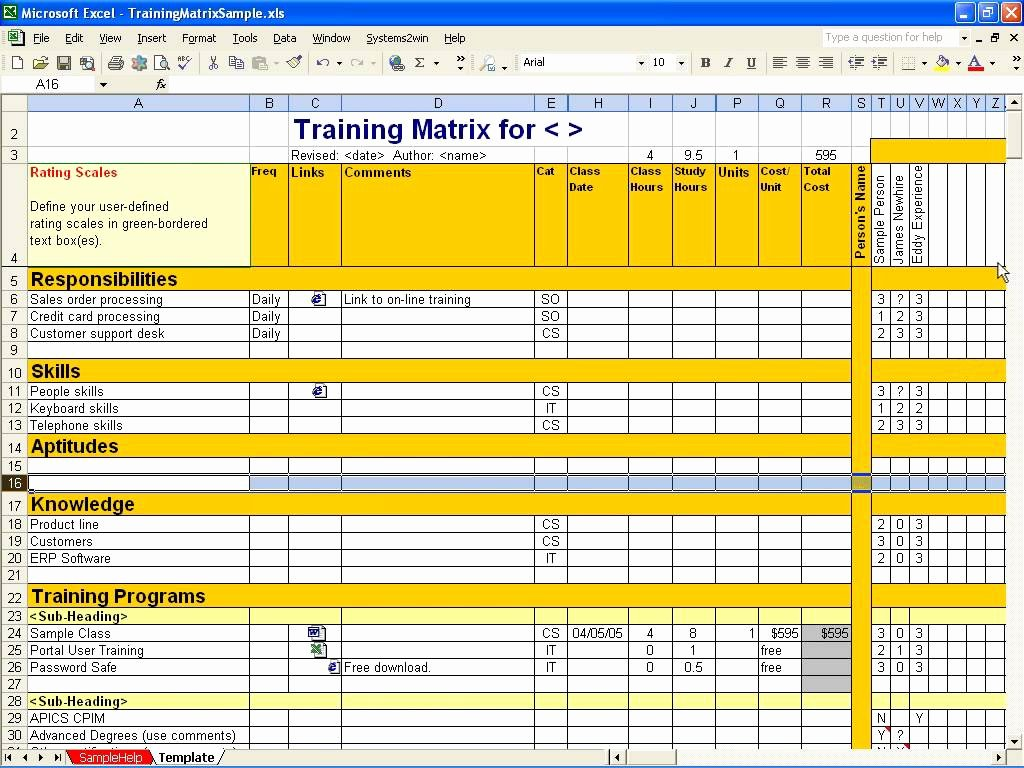Training Plan Template Excel Unique Employee Training Matrix Template Excel