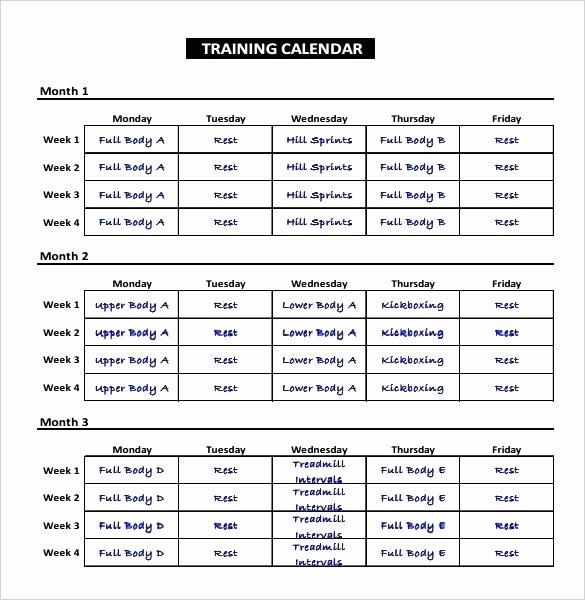 Training Schedule Template Excel Luxury Exercise Schedule Training Calendar Template 6 Week Plan