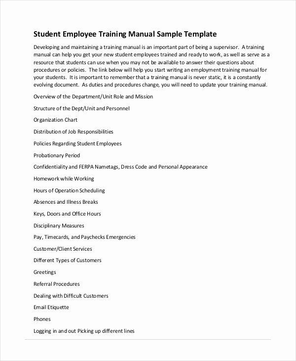 Training Workbook Template Word Elegant Training Manual Template 7 Free Pdf Word Download
