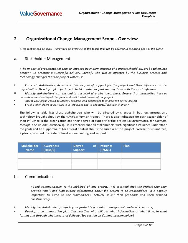 Transition Management Plan Template Awesome Pm002 02 organizational Change Management Plan