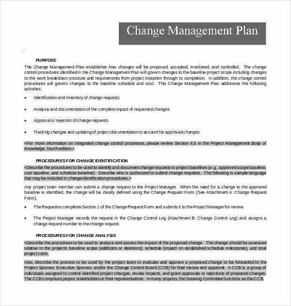 Transition Management Plan Template Best Of 12 Change Management Plan Templates