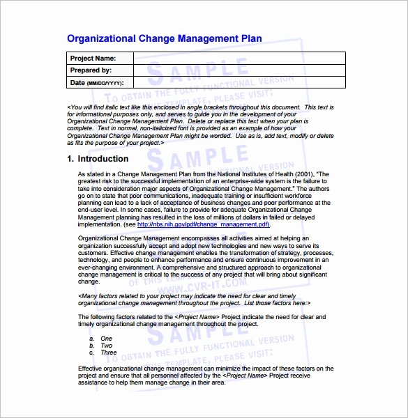 Transition Management Plan Template Lovely 11 Change Management Plan Templates Free Sample