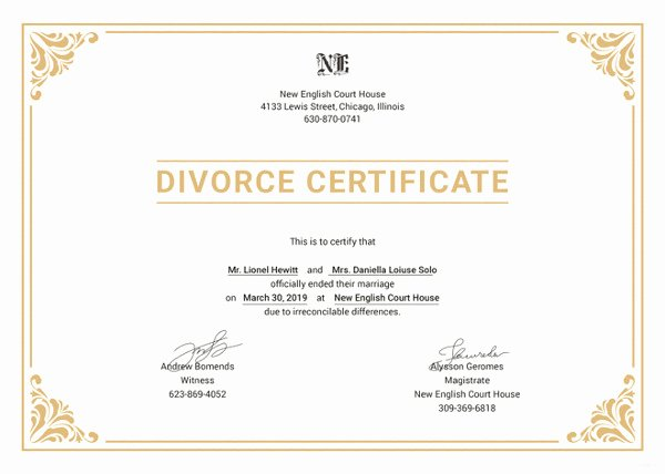 Translation Of Divorce Certificate Template Beautiful Divorce Certificate Template 9 Free Word Pdf Document