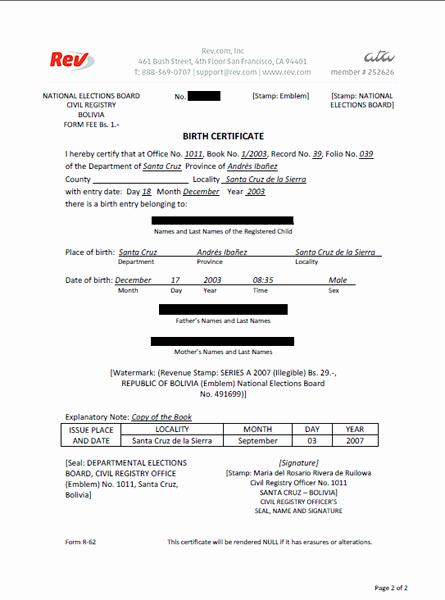 Translation Of Divorce Certificate Template Fresh Birth Certificate Translation Service Rev