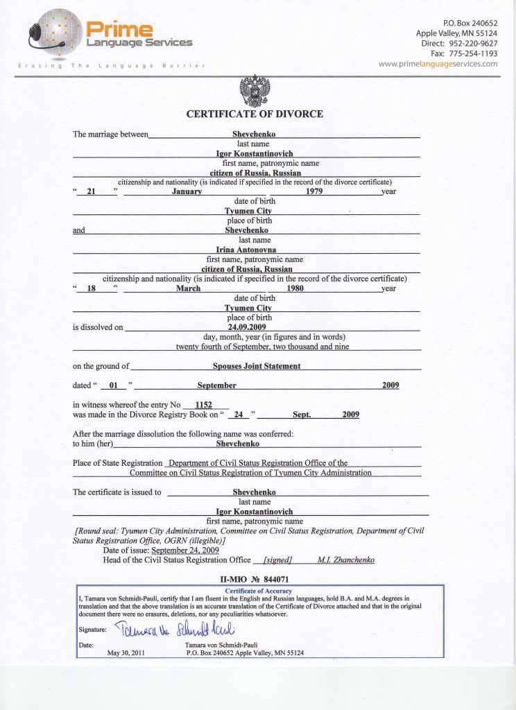 Translation Of Divorce Certificate Template Lovely Divorce Document Free Printable Documents