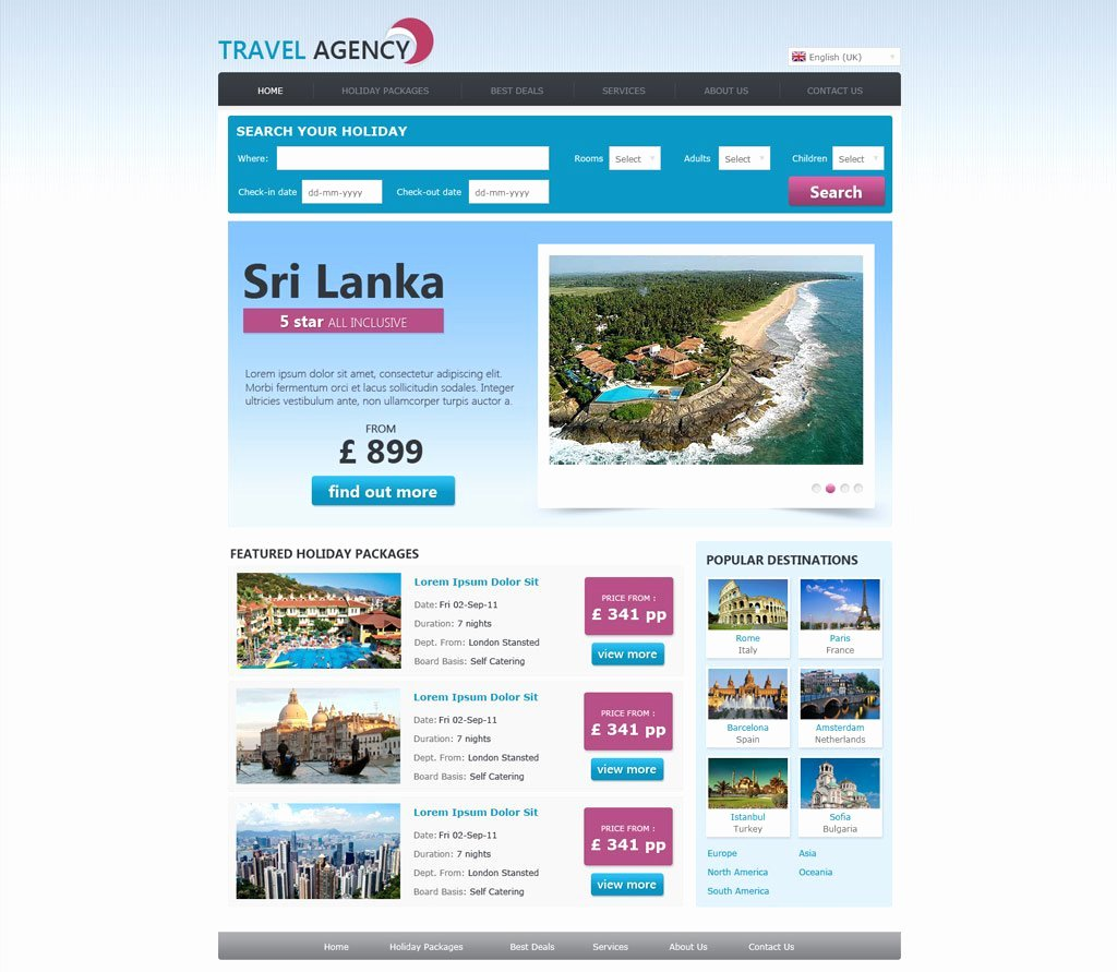Travel Agency Web Template Elegant Free Travel Agency Website Template