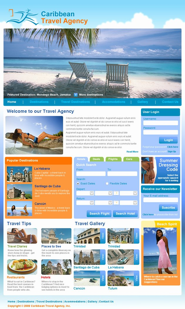 Travel Agency Web Template Elegant Travel Agency Dreamweaver Templates