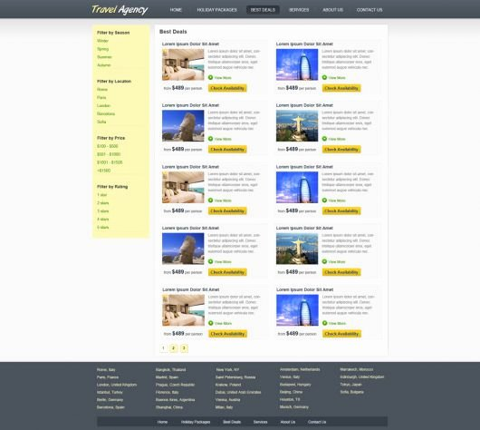 Travel Agency Web Template Elegant Travel Website Template