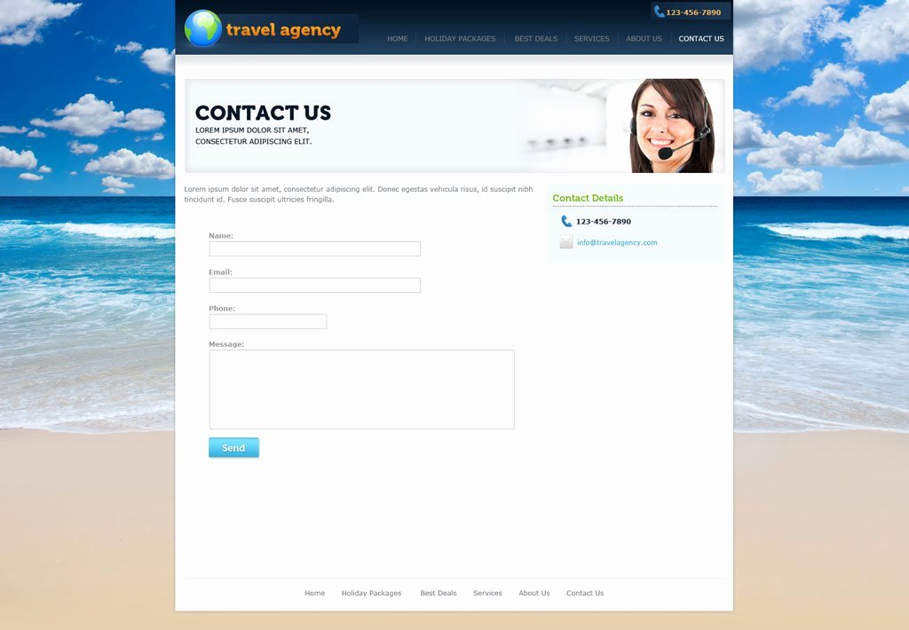 Travel Agency Web Template Fresh Travel Website Template