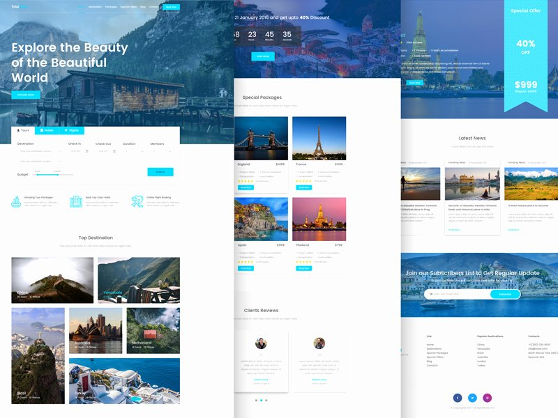 Tournest Travel Agency responsive HTML5 Website Template Free