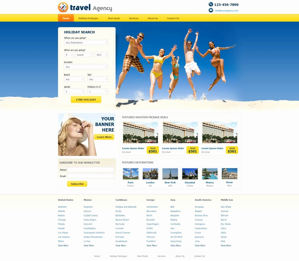 Travel Agency Website Template Beautiful Free Travel Agency Website Template