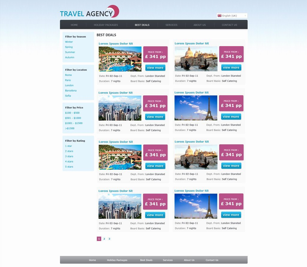 Travel Agency Website Template Elegant Free Travel Agency Website Template