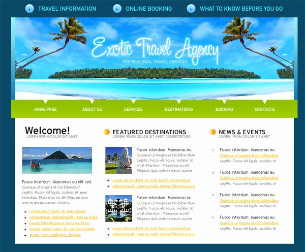 Travel Agency Website Template Fresh Besplatni Xhtml Css Template