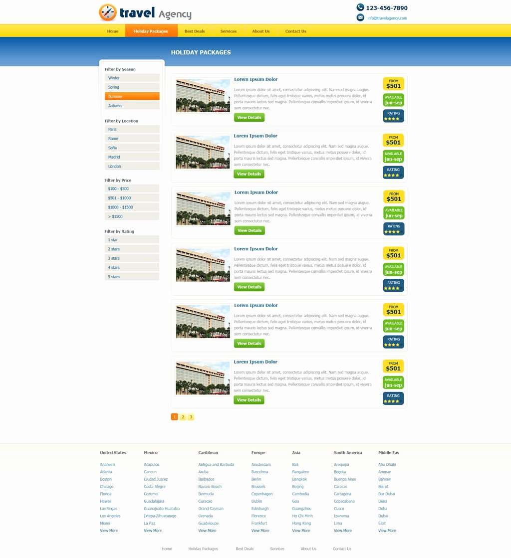 free travel agency web template 140