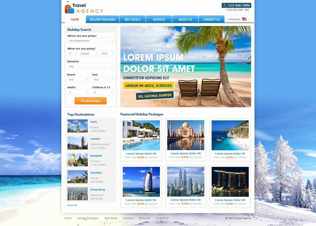 Travel Agency Website Template New Travel Website Template