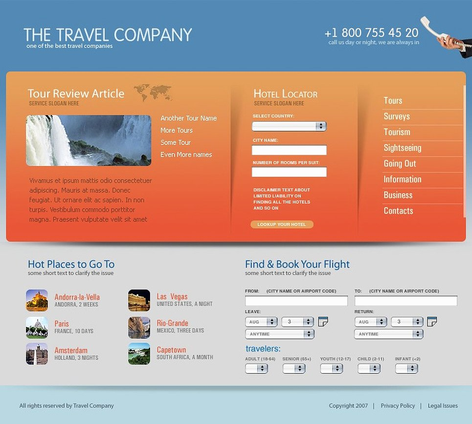 Travel Agent Website Template Awesome Travel Agency Website Template