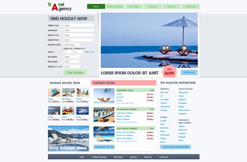 Travel Agent Website Template Awesome Travel Website Template