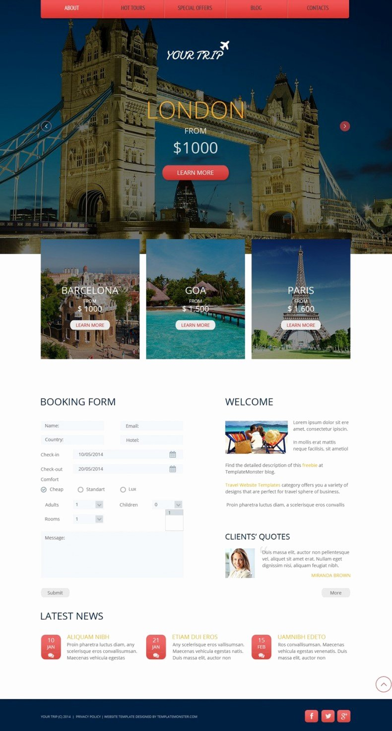 Travel Agent Website Template Beautiful Travel Agency Free Website Template