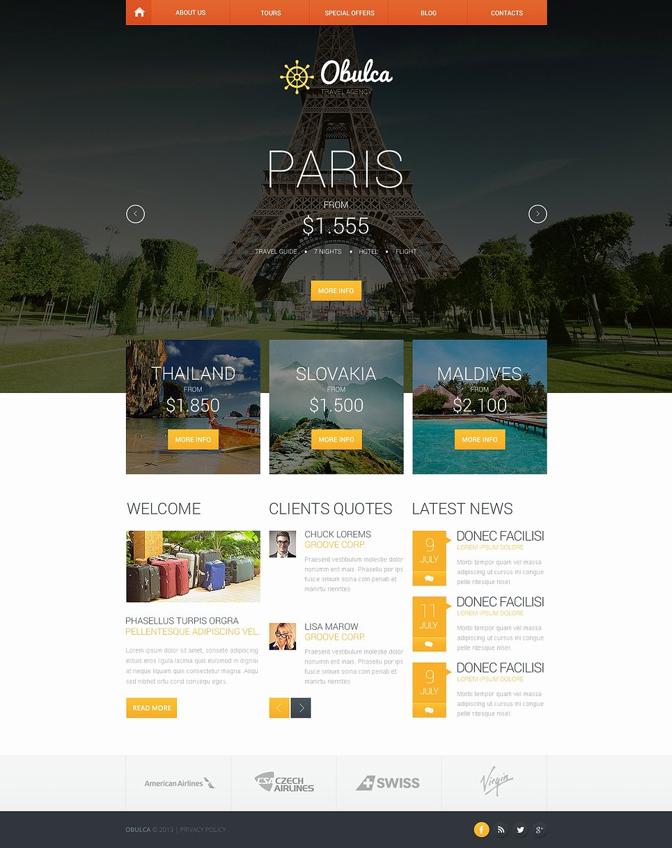 Travel Agent Website Template Elegant Travel Agency Responsive Website Template