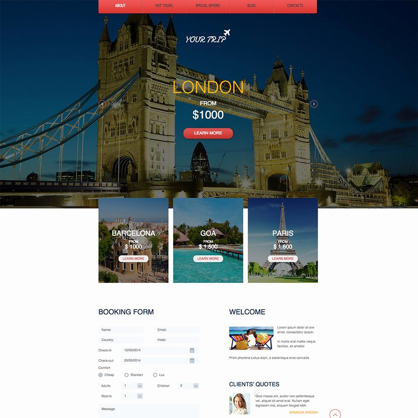 Travel Agent Website Template New Travel Agency Free Responsive Website Template