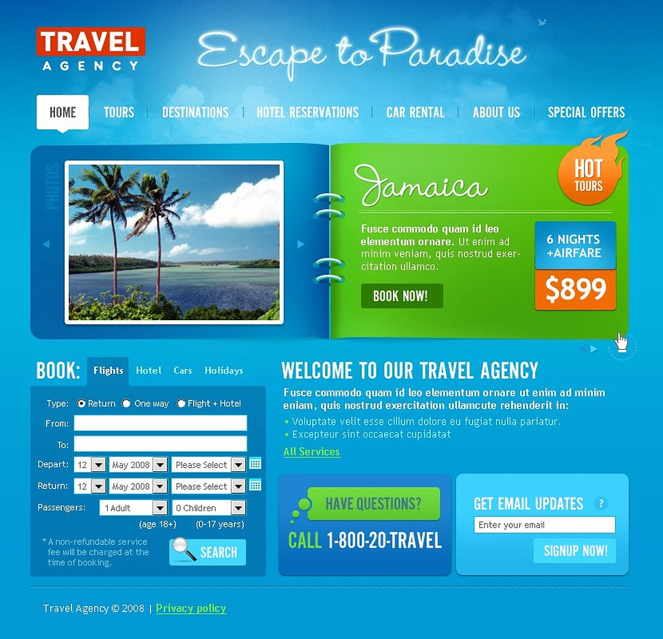 Travel Agent Website Template New Travel Agency Website Template