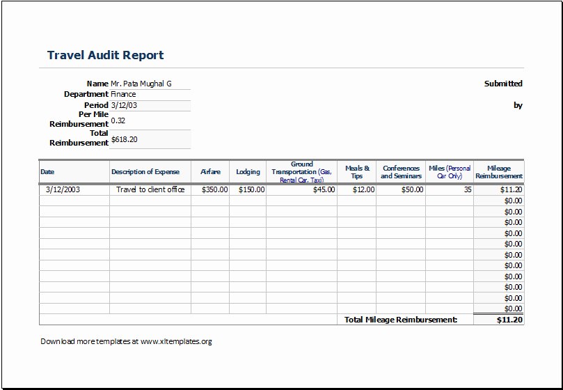 Travel Expense Report Template Excel Awesome Travel Expense Report Template
