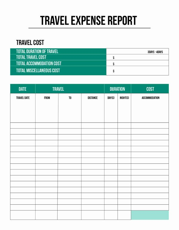 Travel Expense Report Template Excel Fresh Expense Report Template 11 Free Sample Example format