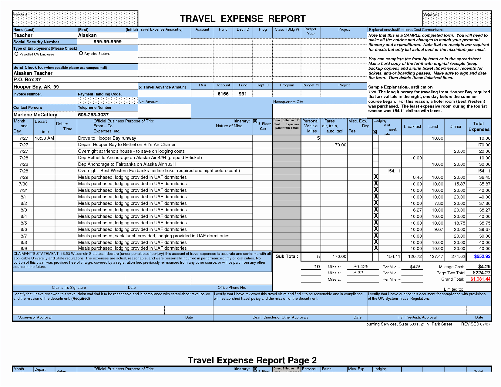 Travel Expense Report Template Excel Lovely 7 Travel Expense Report Template