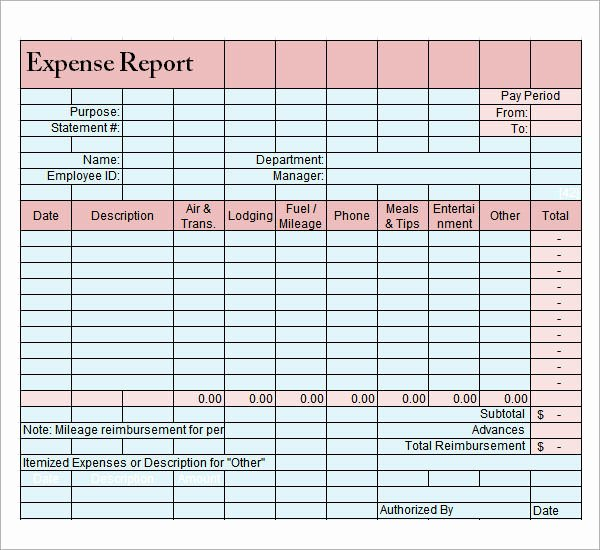 Travel Expense Report Template Excel New 9 Sample Expense Report Templates