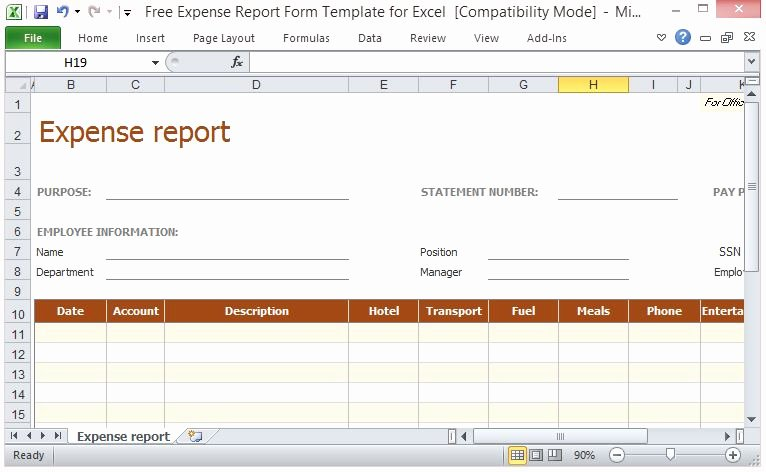 Travel Expense Report Template Excel Unique Free Expense Report form Template for Excel
