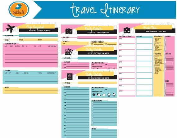 Travel Itinerary Planner Template Awesome Editable Digital Planner Travel Planner Printable Vacation