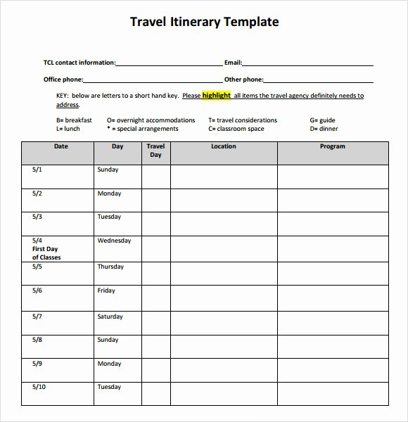 Travel Itinerary Planner Template Best Of 6 Sample Travel Itinerary Templates to Download