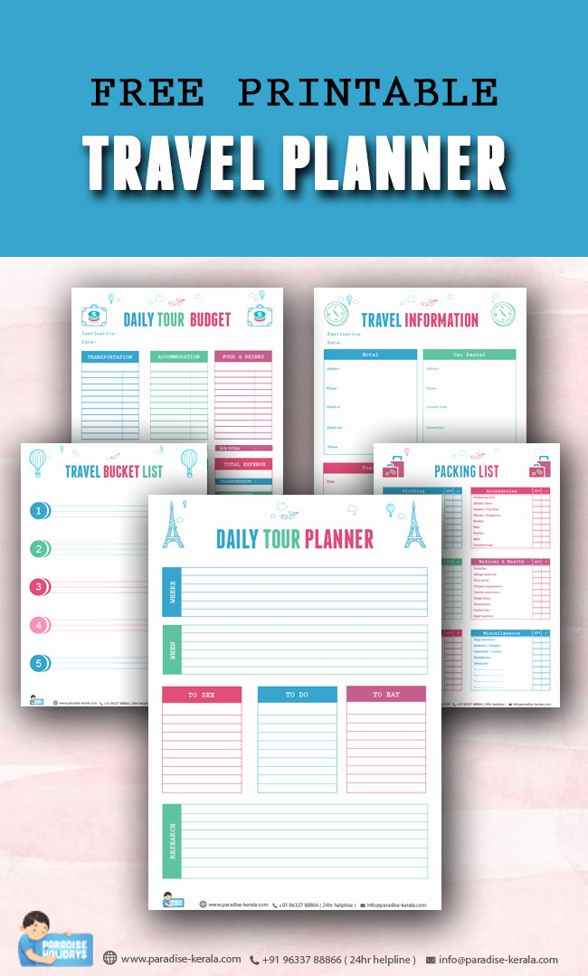 Travel Itinerary Planner Template Elegant Free Printable Travel Planner Paradise Holidays Cochin