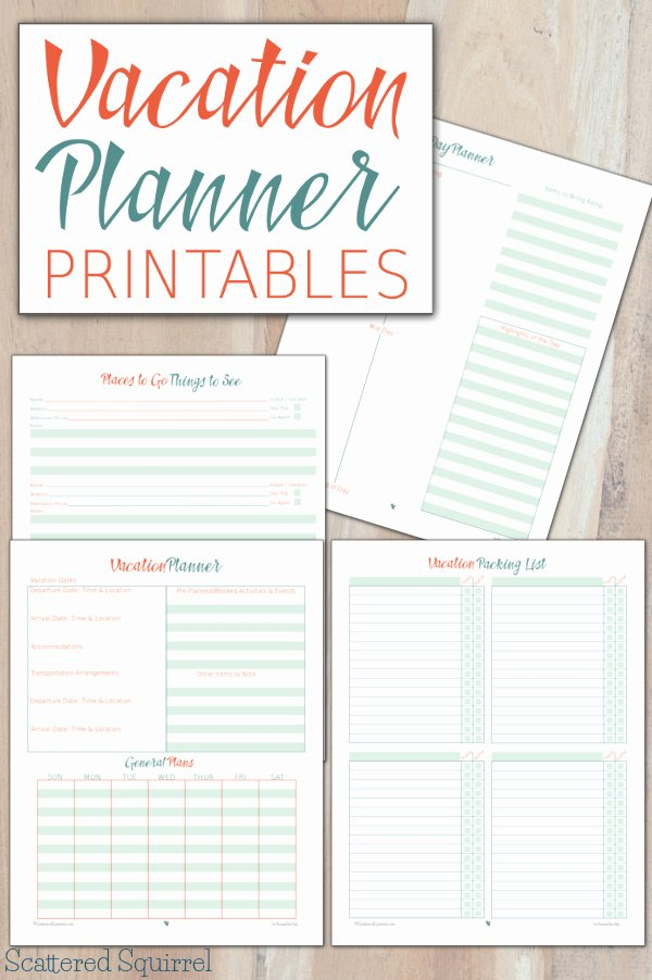 Travel Itinerary Planner Template Fresh Vacation Planner Printables