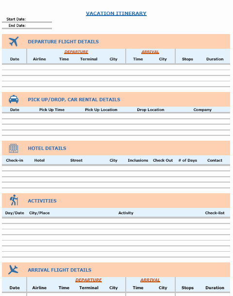 Travel Itinerary Planner Template Lovely Vacation Itinerary & Packing List Template In Excel