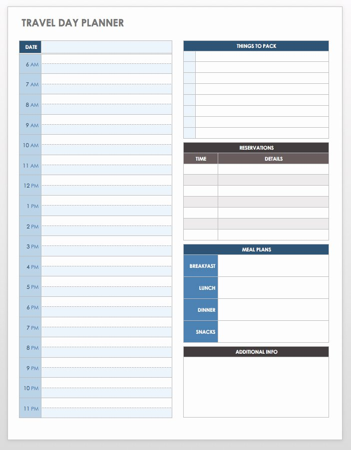 Travel Itinerary Planner Template New Free Itinerary Templates
