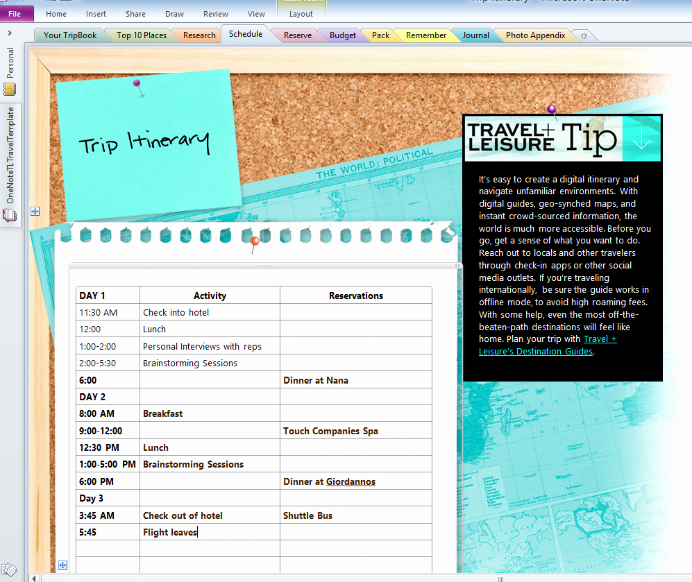 Travel Itinerary Planner Template New Travel Plans Made Simple with Microsoft Enote Simply