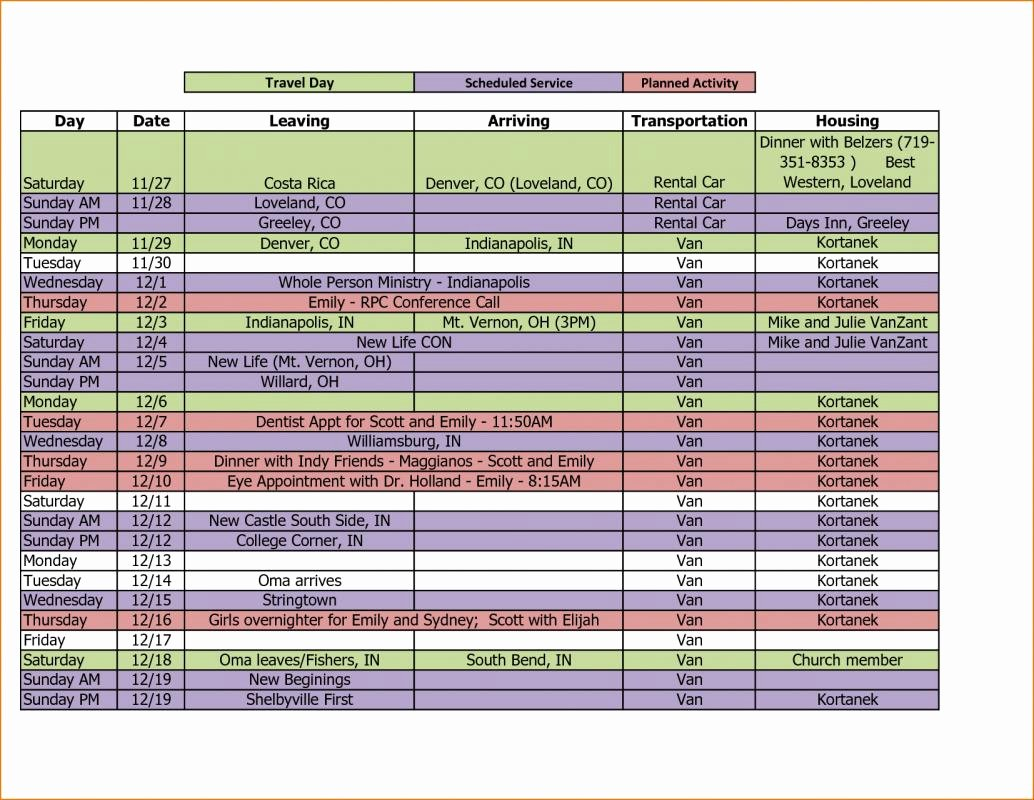 Travel Itinerary Template Excel Beautiful Travel Itinerary Template Excel