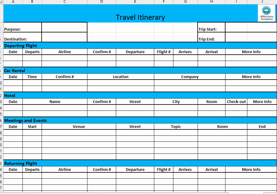 Travel Itinerary Template Excel Fresh Business Travel Itinerary Download This Basic Business