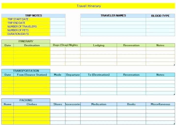 Travel Itinerary Template Excel Fresh Daily Travel Itinerary Template Excel – Mediaschoolfo
