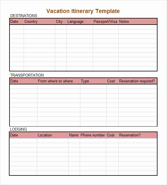 Travel Itinerary Template Excel Inspirational 8 Daily Itinerary Samples