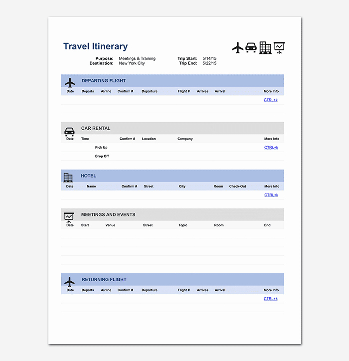 Travel Itinerary Template Excel Inspirational Business Travel Itinerary Template 23 Word Excel & Pdf