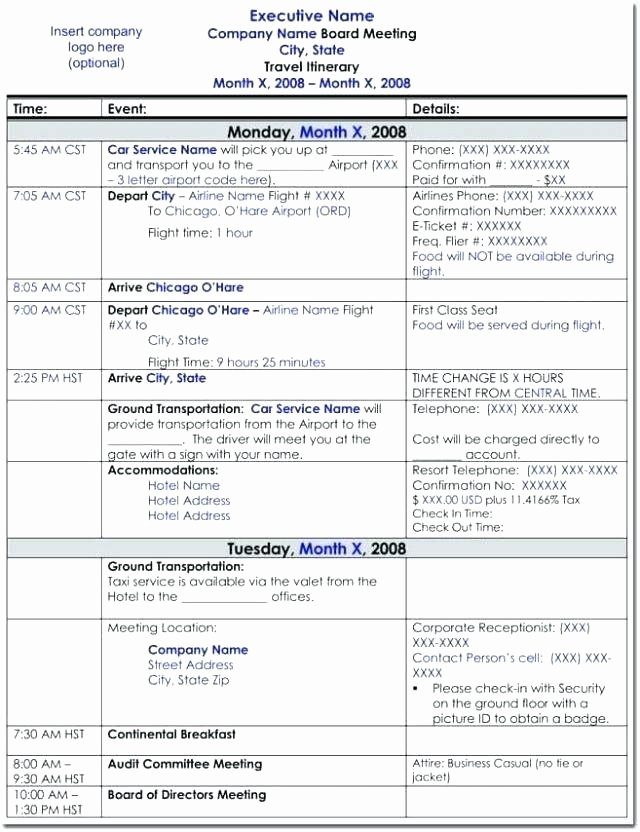Travel Itinerary Template Excel Lovely Executive assistant Travel Itinerary Template Free Travel