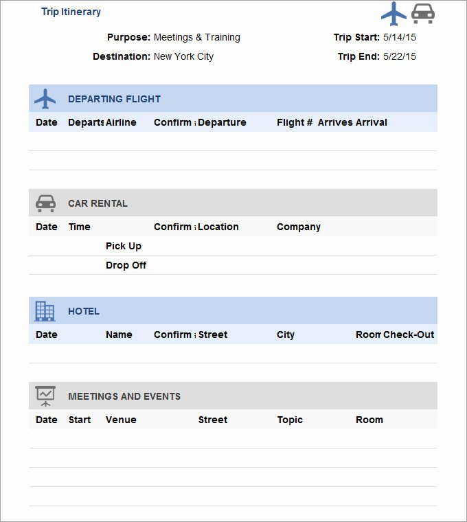 Travel Itinerary Template Excel Luxury 33 Trip Itinerary Templates Pdf Doc Excel