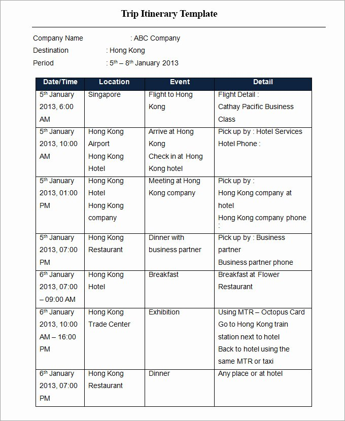 Travel Itinerary Template Excel Luxury Trip Itinerary Template 33 Free Word Excel Documents