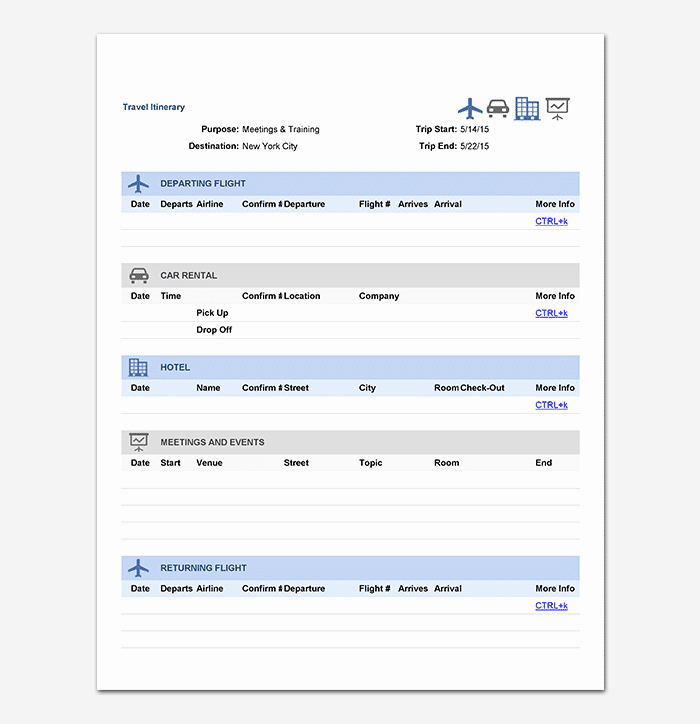 Travel Itinerary Template Excel New Business Travel Itinerary Template 23 Word Excel & Pdf