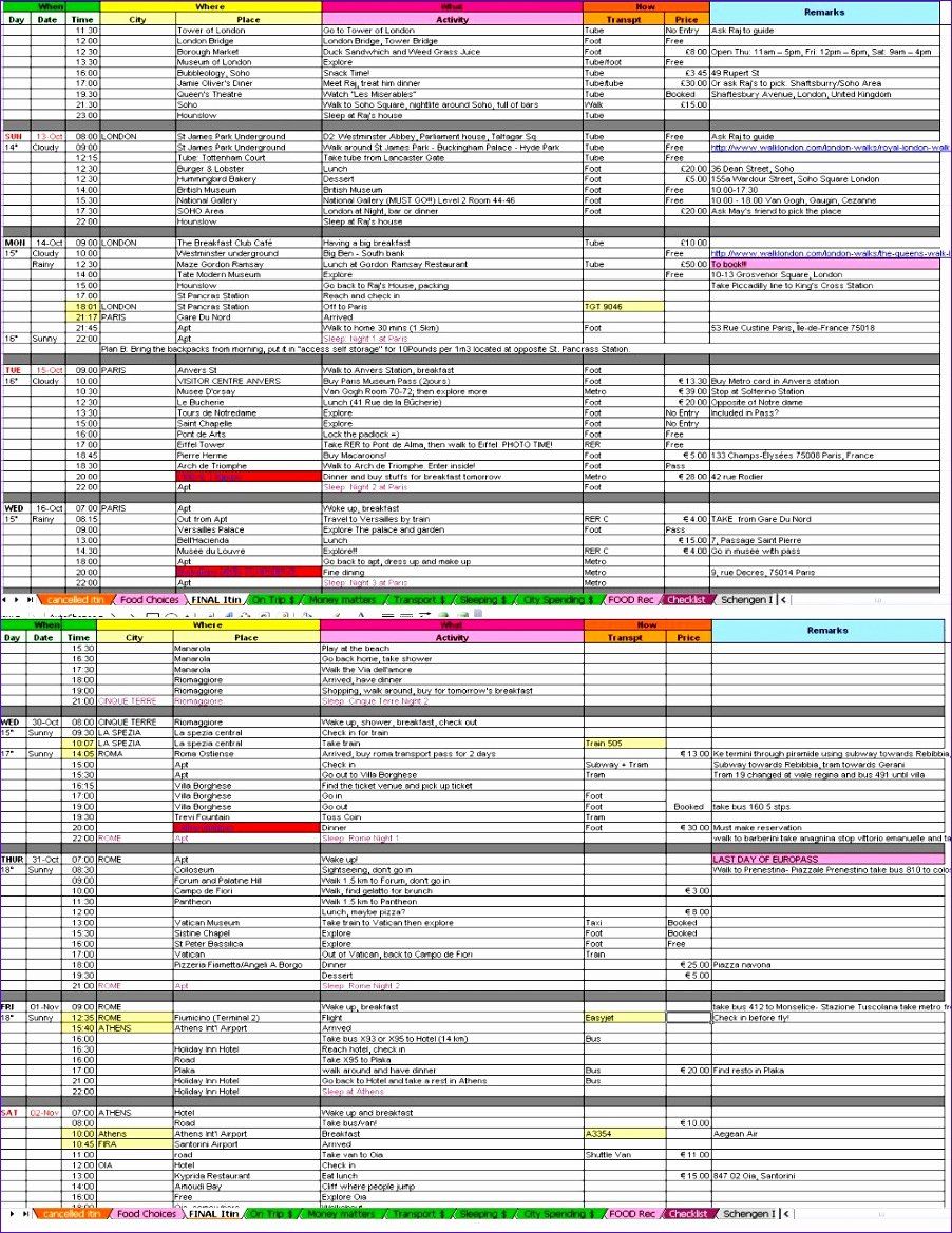 Travel Itinerary Template Excel Unique 10 Vacation Plan Template Excel Exceltemplates
